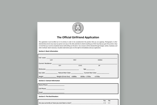 Official Girlfriend Application Form (Free Download)
