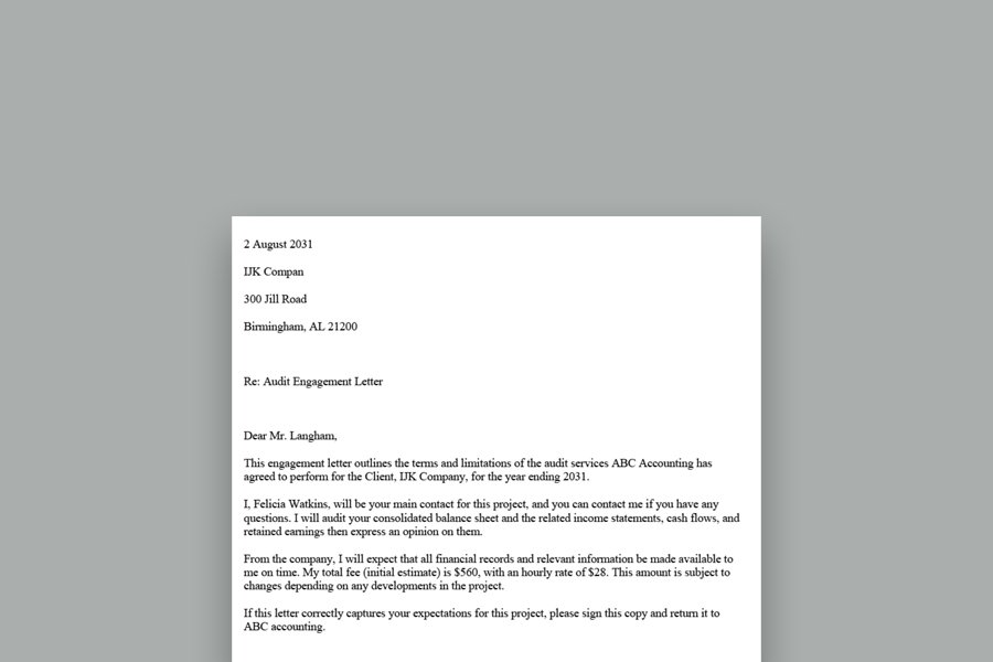 Accountant / Bookkeeping Engagement Letter - Template and Examples