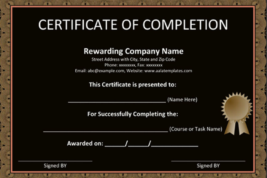 Certificate Of Completion Templates and Examples
