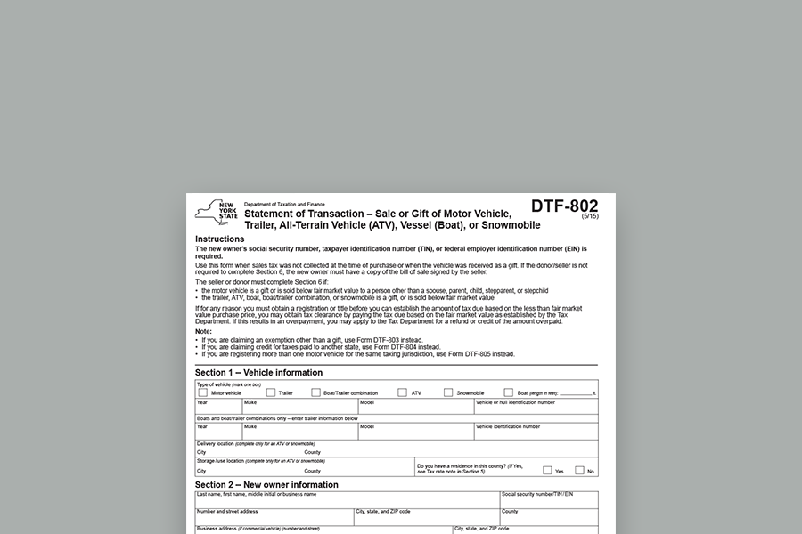 "Form DTF-802 ""Statement of Transaction"