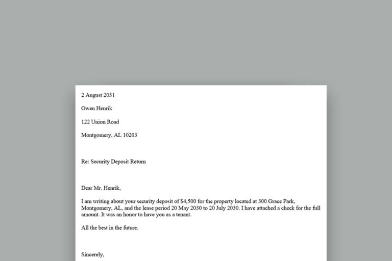 Security Deposit Return Letter