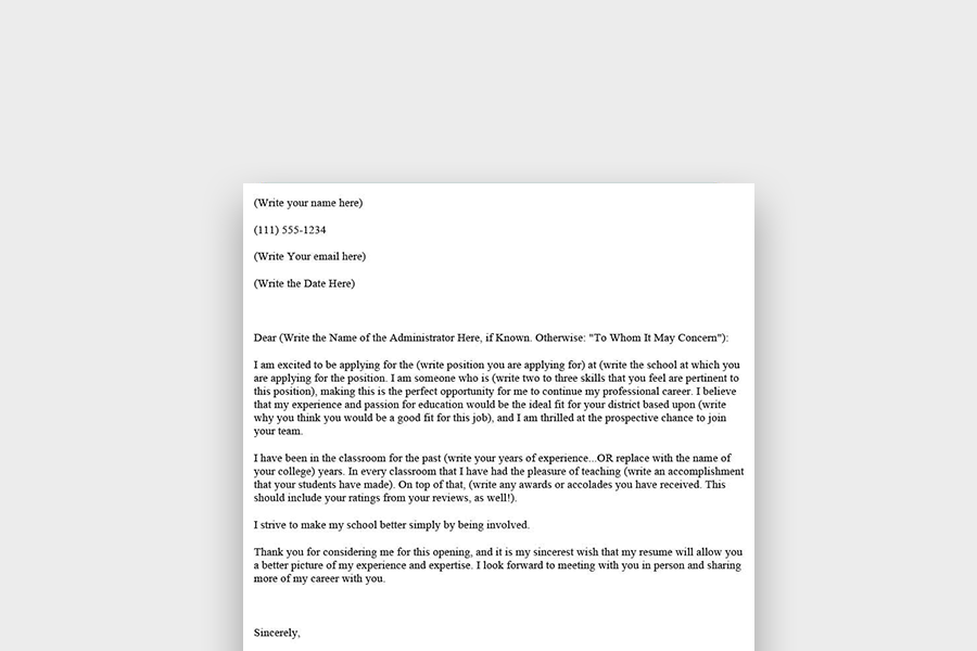Teacher Cover Letter Template and Examples