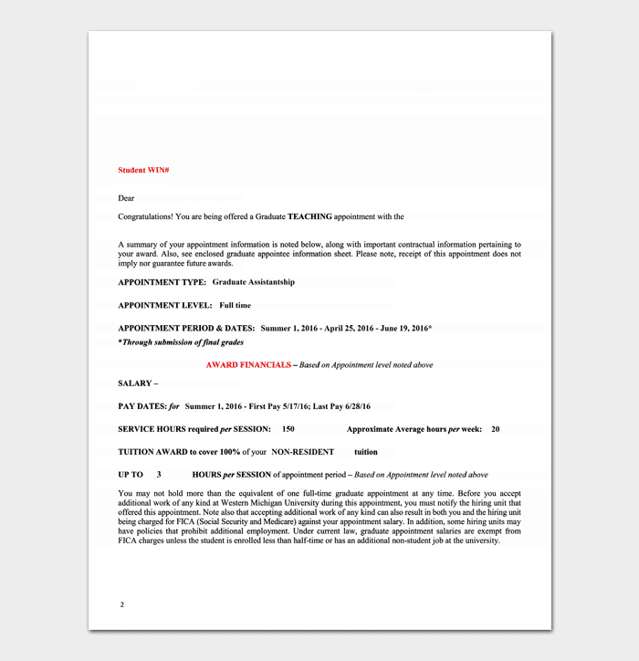 Teacher Job Appointment Letter Template PDF