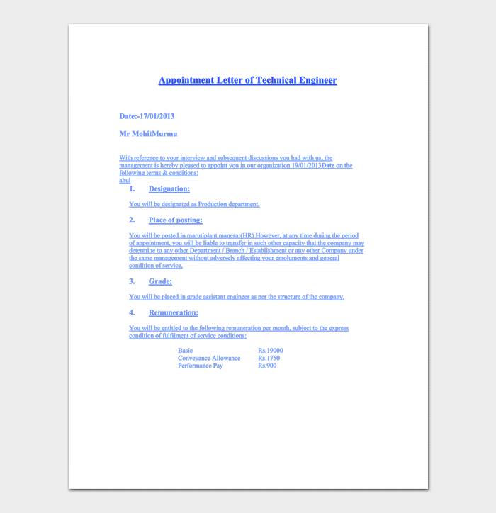 Trainee Engineer Appointment Letter Sample 222