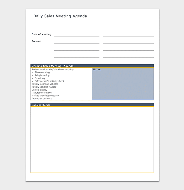 Basic Sales Meeting Agenda Example