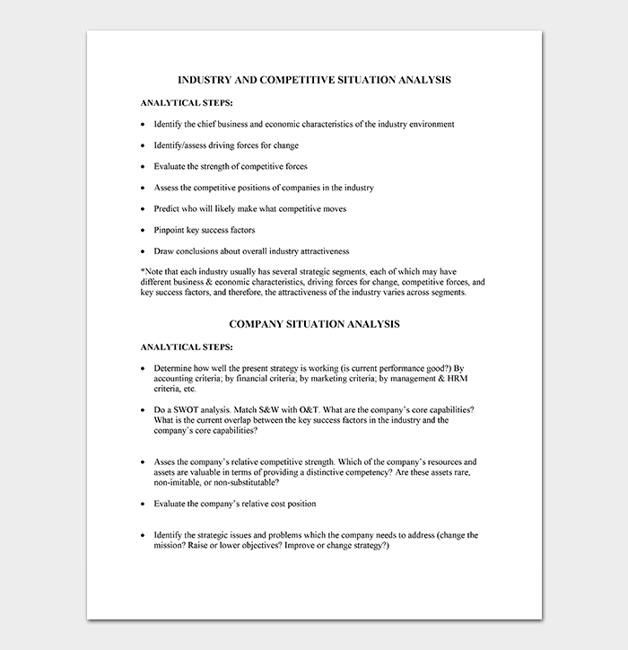Competitive Situation Analysis Template