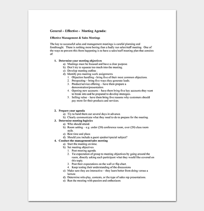 Sales Meeting Agenda Template - 10+ for Word & PDF Format