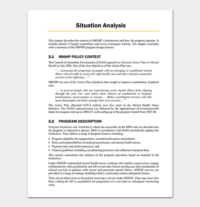 Health Situation Analysis Template