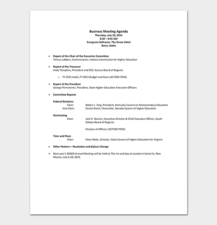Sales Business Meeting Agenda Template