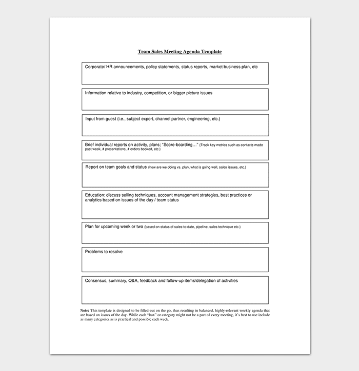 Team Sales Meeting Agenda Example  Best Meeting Agenda Template