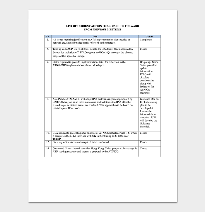 Action List Template