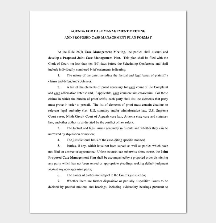 Agenda for Civil Case Management Meeting Sample