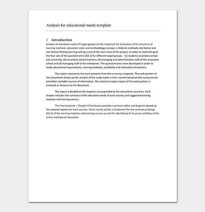 Analysis for Educational Needs Template