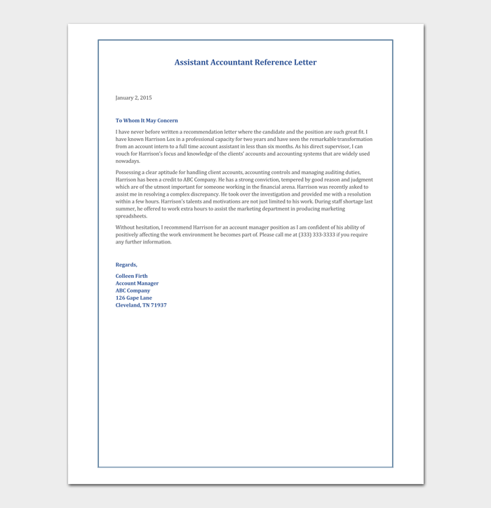 Accountant Reference Letter 12 Samples Amp Examples