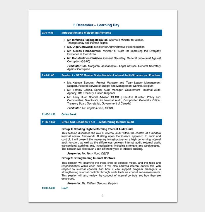 Audit Agenda Example