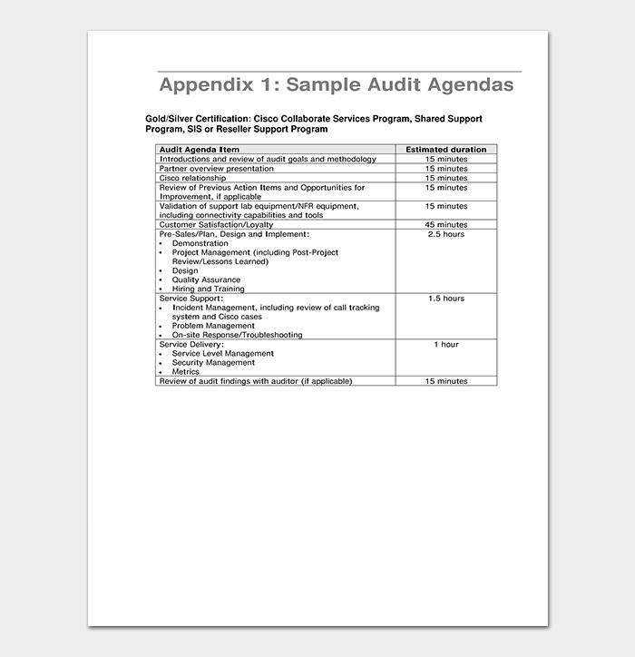 Audit Agenda in PDF