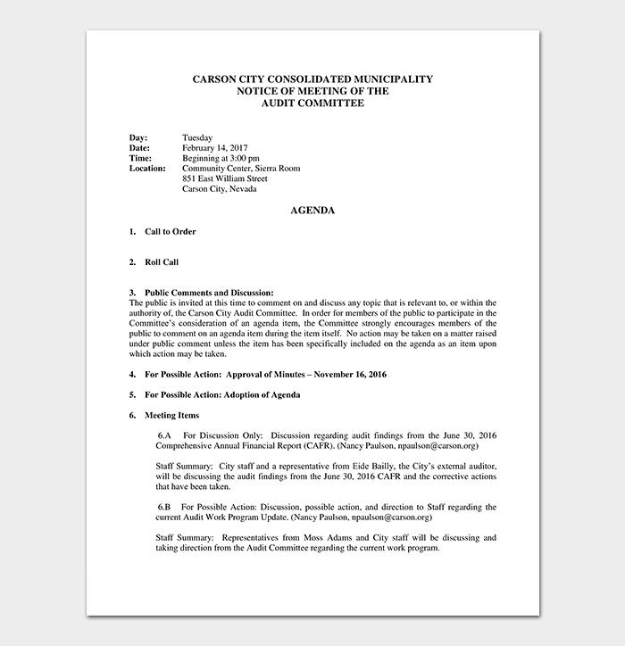 Audit Committee Agenda Template