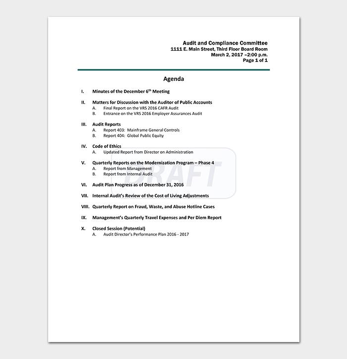 Audit Compliance Agenda Template