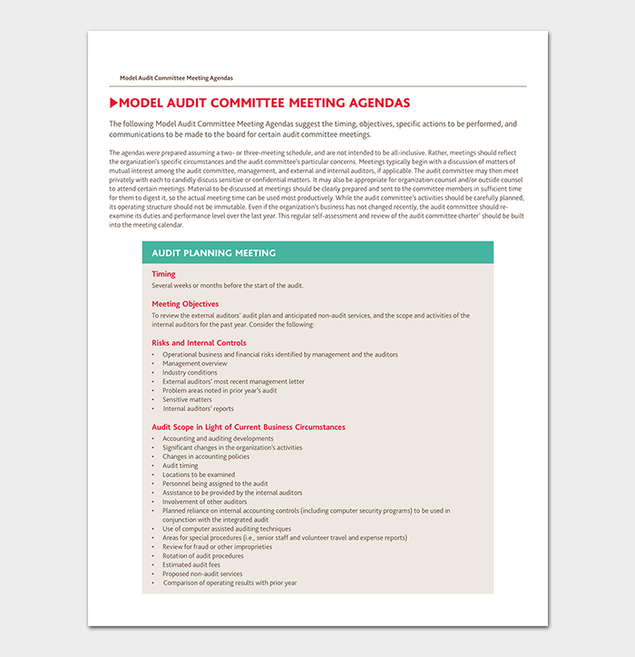 Audit Meeting Agenda Template