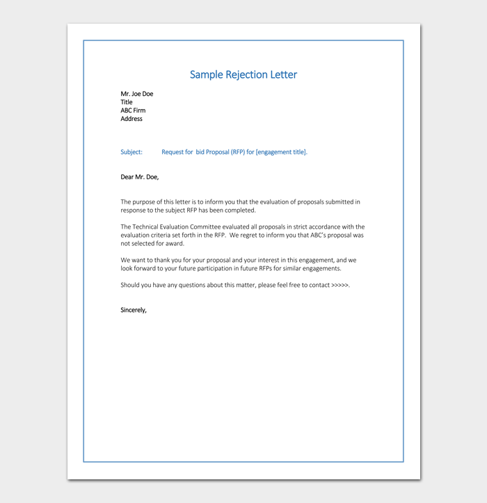 Bid rejection letter 10 samples examples bid rejection letter word thecheapjerseys Images