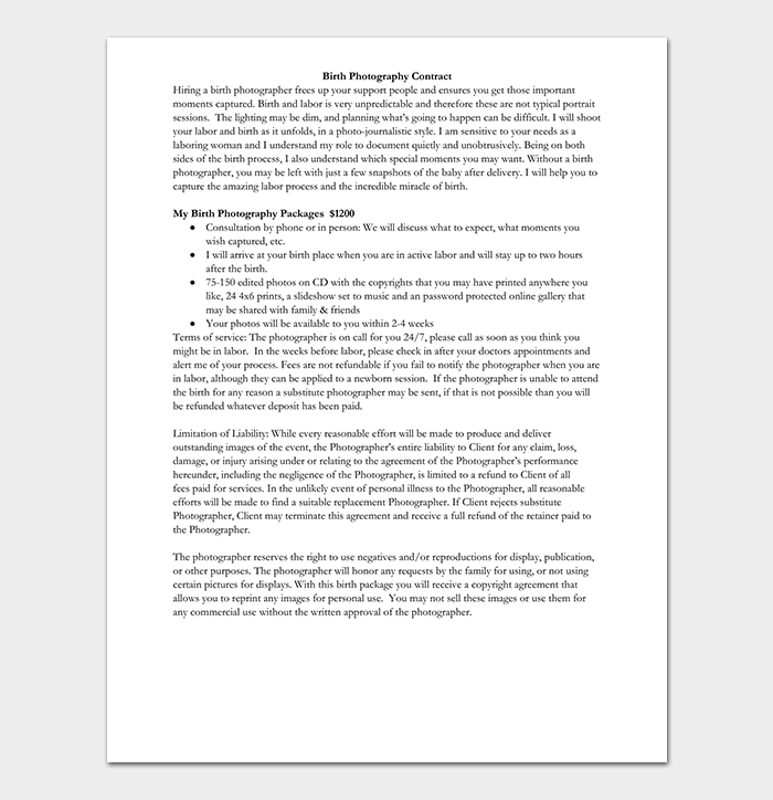 Photography contract template 40 free in word pdf for Birth photography contract template