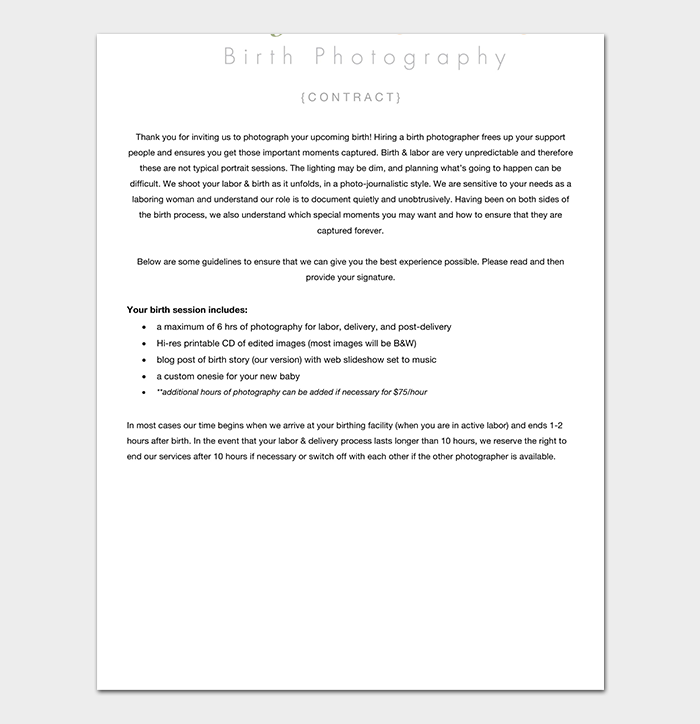 Birth Photography Contract
