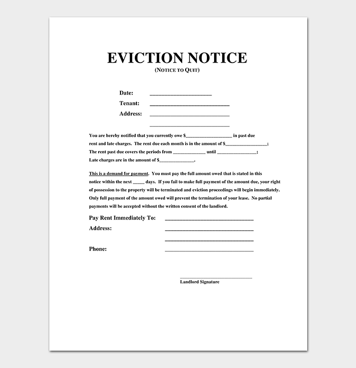 It is a picture of Accomplished Free Printable Eviction Notice