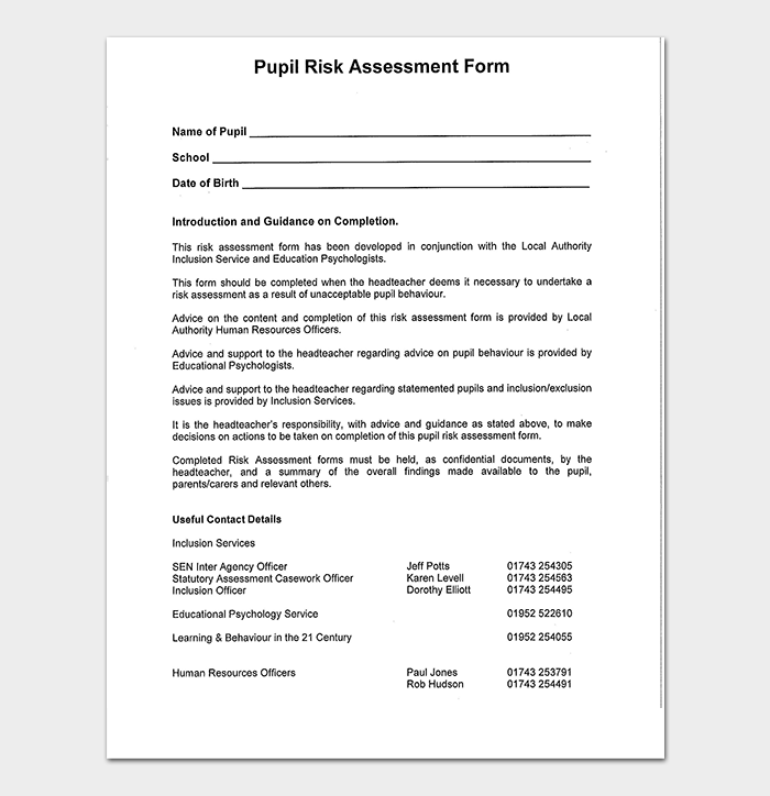Blank Pupil Risk Assessment Form