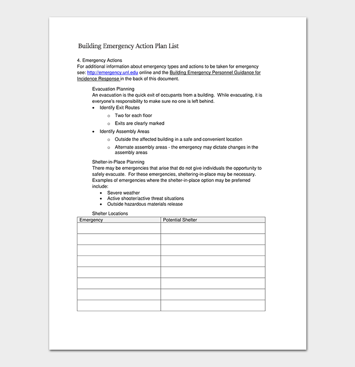 Building Emergency Action Plan List Template