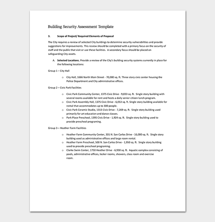Security assessment template 18 word excel pdf format for Physical security survey template