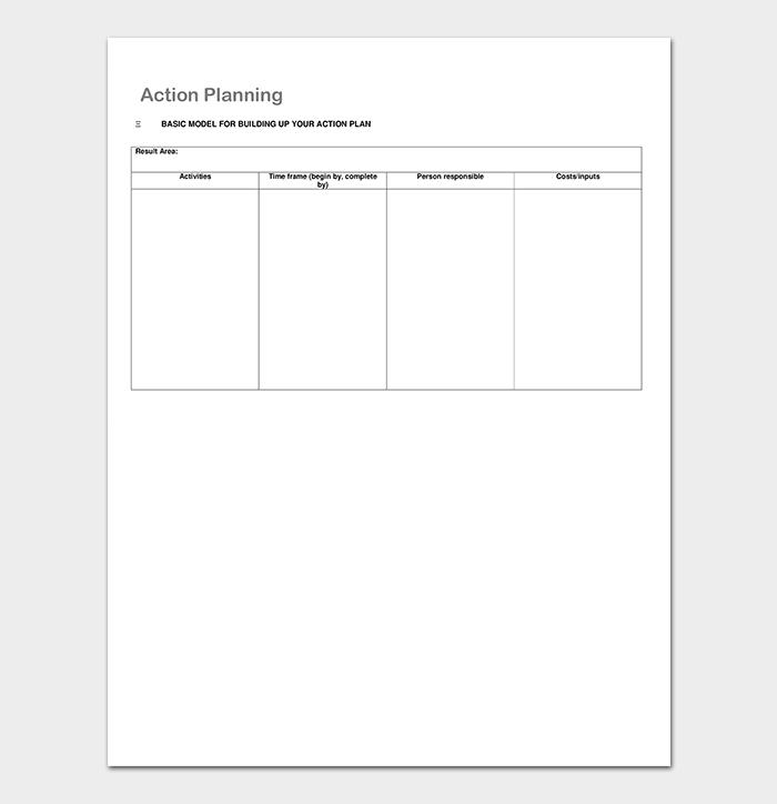 Business Action Plan List Template