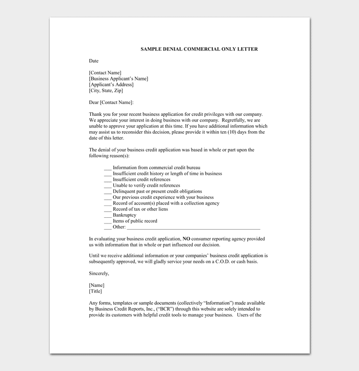 Application rejection letter samples examples formats for Loan denial letter template