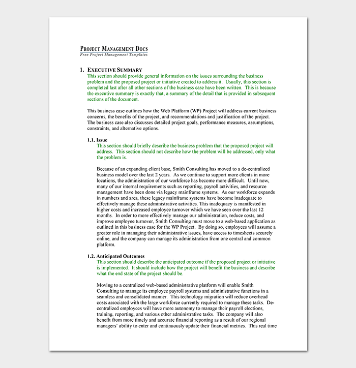 Business Case Template DOC