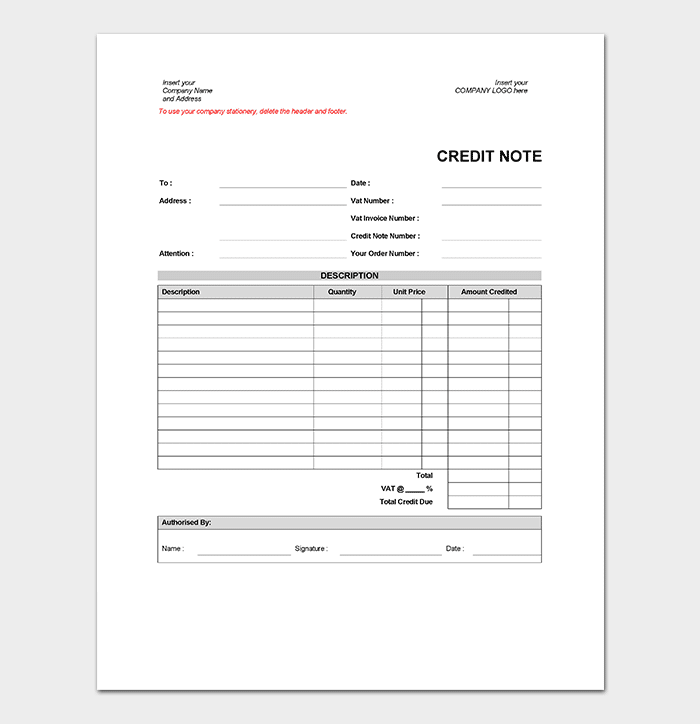 Business Credit Note Template