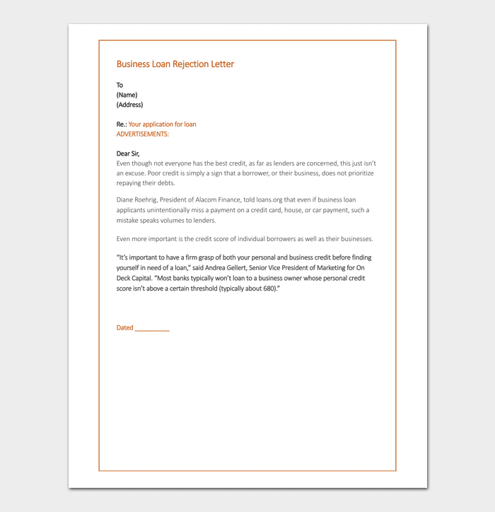 Business Loan Rejection Letter in Word
