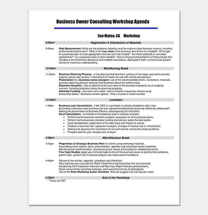 Business Workshop Agenda Template PDF