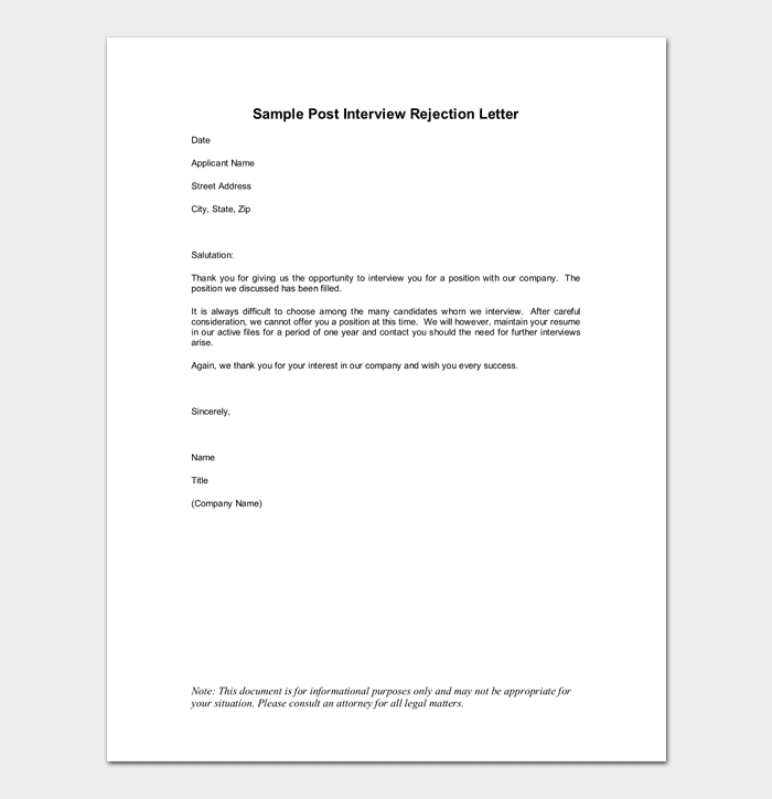 Candidate Job Rejection Letter Example