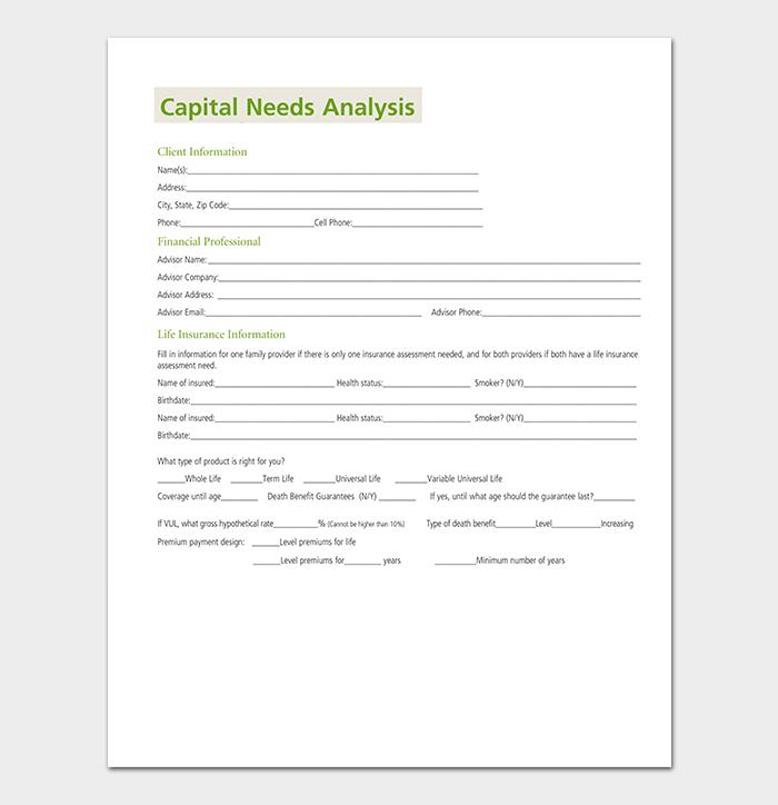 Capital Needs Analysis Template