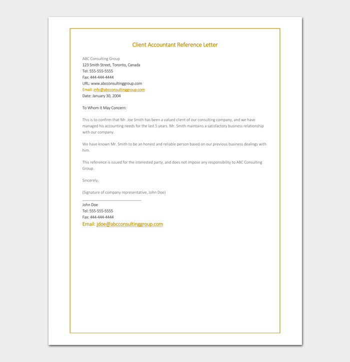Client Accountant Reference Letter