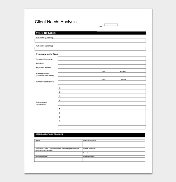 Needs analysis template 20 for word excel pdf for Client analysis template