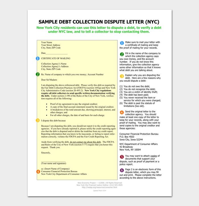 Collection Letter Template Samples Examples - Debt dispute letter template