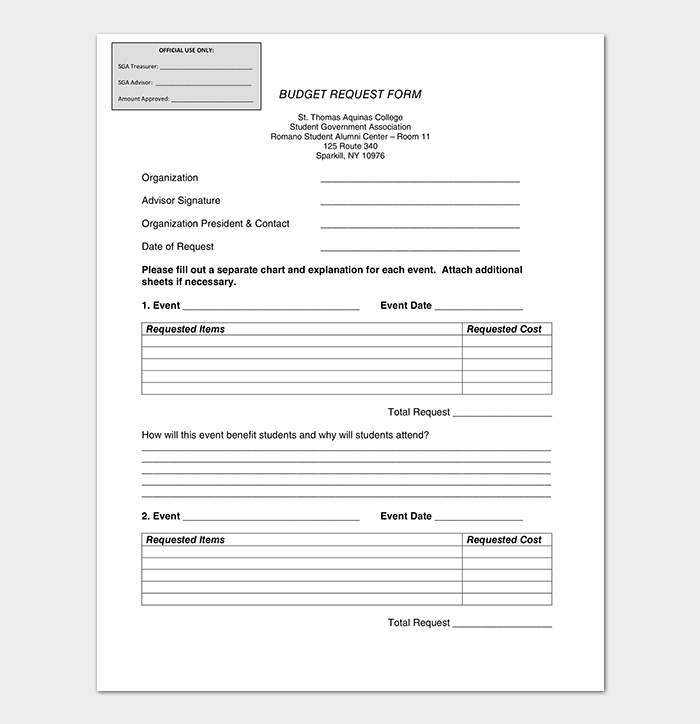 College Budget Request Form