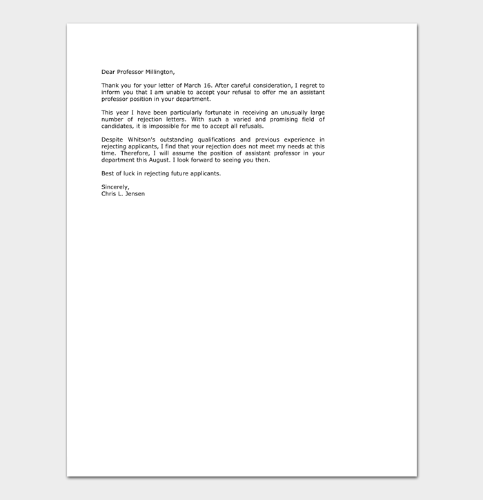 college rejection letter template samples examples