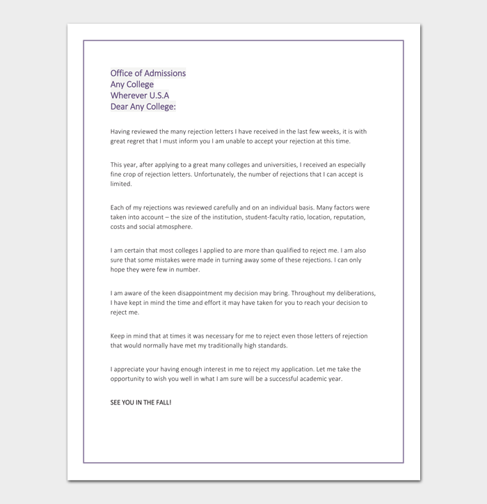 College rejection letter template samples examples for College rejection letter template