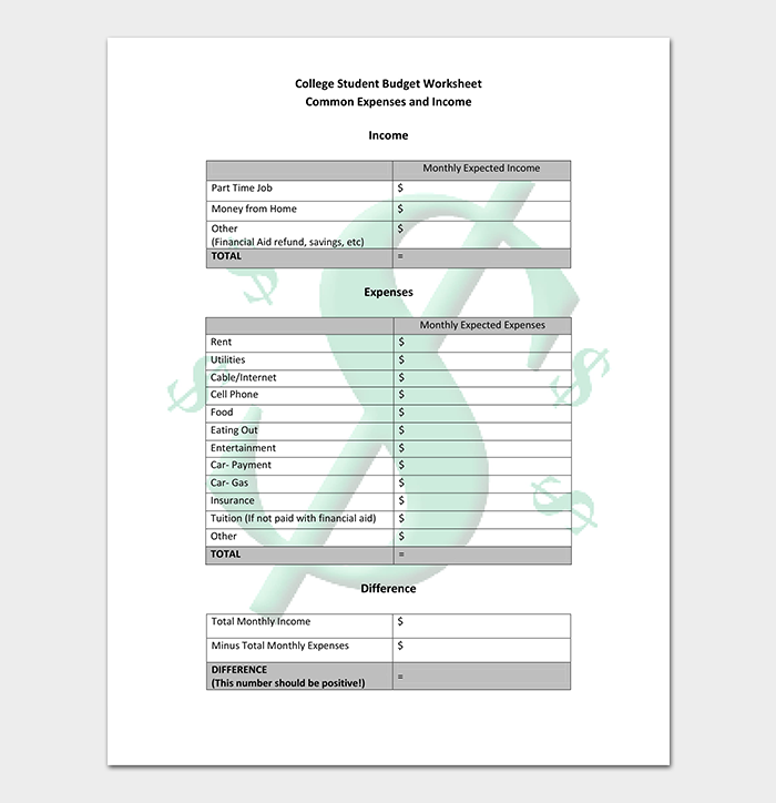 College Student Budget PDF
