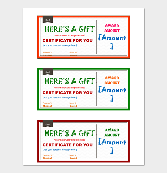 Colourful Gift Certificates