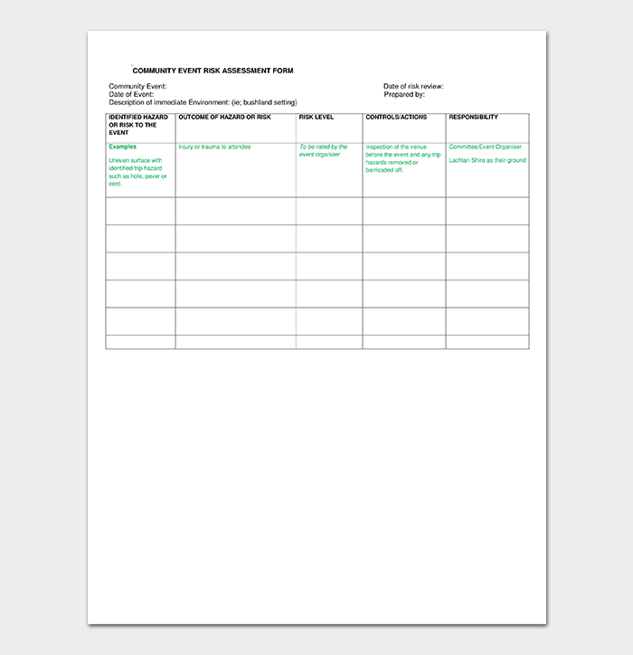 Community Event Risk Assessment Form