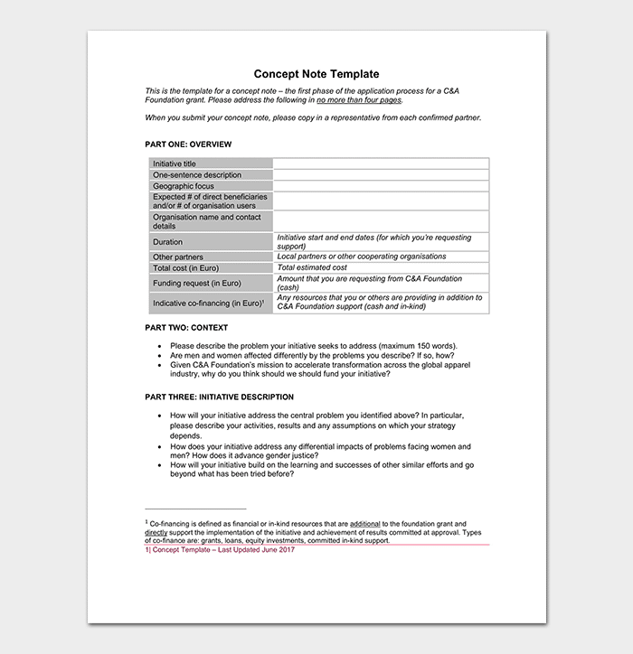 Concept Note Template in PDF