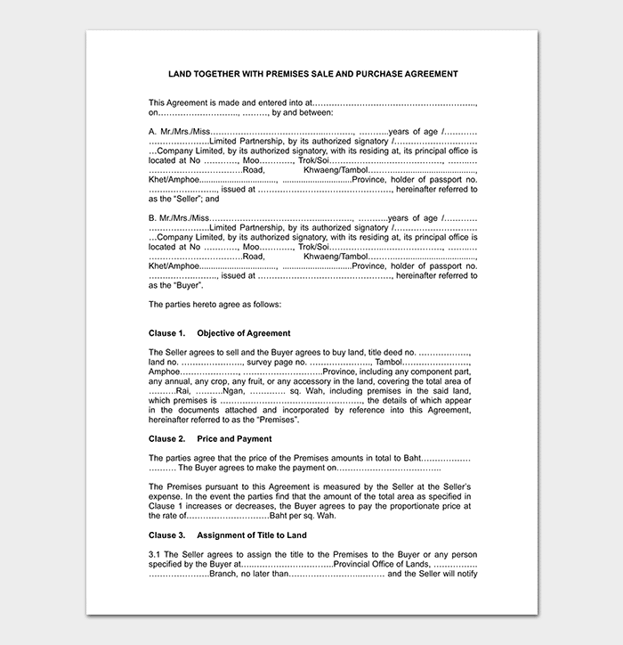Conditional Land Sales Agreement Template