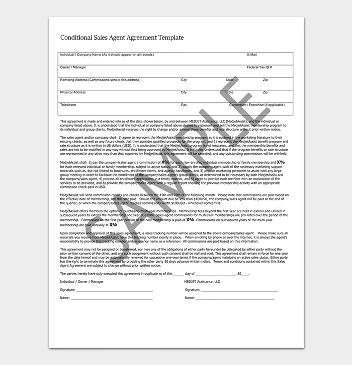 Conditional Sales Agent Agreement Template